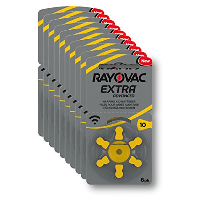 Rayovac Extra Advanced Hearing Aid Batteries, Size 10, Yellow Tab, PR70, Pack of