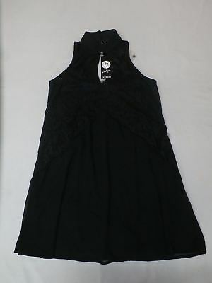 8aea2cdcdfa9 boohoo Boutique Women s High Neck Lace Front Swing Dress Black GG8 UK 10 ...