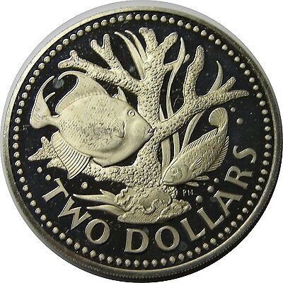 elf Barbados 2 Dollars 1978 FM Proof Staghorn Coral Fish