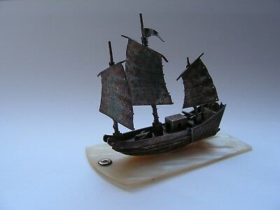Antique Chinese Solid Silver Model Junk Boat On Mother Of Pearl Base Wang Hing