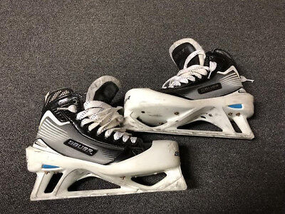 Used Bauer Reactor Pro Stock Ice Hockey Goalie Skates 9 D/A Devils MeiGray
