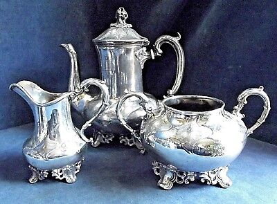 GOOD Ornate LARGE ~ SILVER Plate ~ ENGRAVED Bulbous TEA SET ~ c1890 Wolstenholme