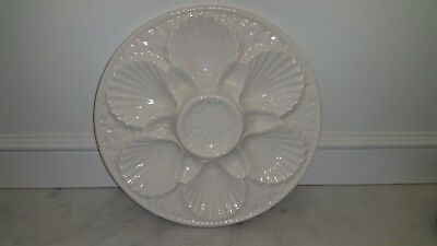 """Antique 9 3/8"""" Basket Weave French Longchamp Majolica Oyster Shell Plate White"""