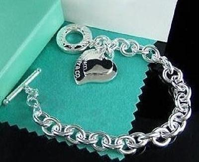 Valentine Gift Two Hearts Chain Women Jewelry Silver T/O Bangle/Bracelet