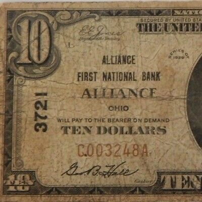 1929-Alliance First Natl Bank-Alliance, Oh - $10 Natl Currency - T1-#3721-#674Z