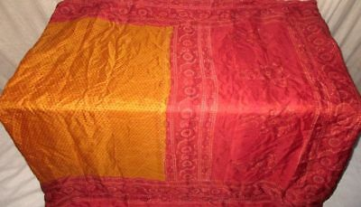 Golden Maroon Pure Silk 4 yd Vintage Antique Sari Saree Discount student #9EHNP