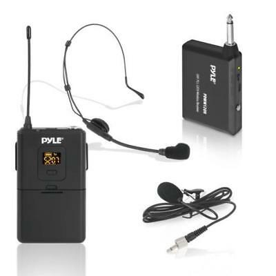 Pyle UHF 32-Channels Wireless Microphone - System Set with Headset & Lavalier La
