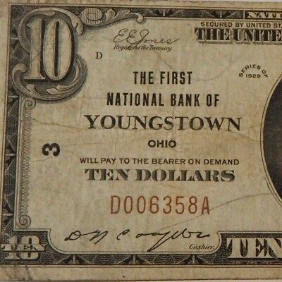 1929 - The First Natl Bank -Youngstown, Oh - $10 Natl Currency - T1 - #3 - #676Z