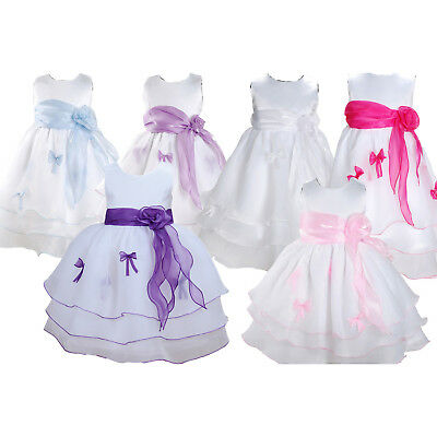 Baby Girl Party Dress Flower Girl Blue Pink Lilac Purple 3-6 to 18-24 month