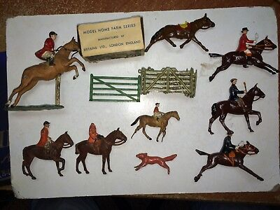 11 Vintage Fox Hunt,Horses,Riders 30s/40s/50s Metal O Scale Train Layout Figures