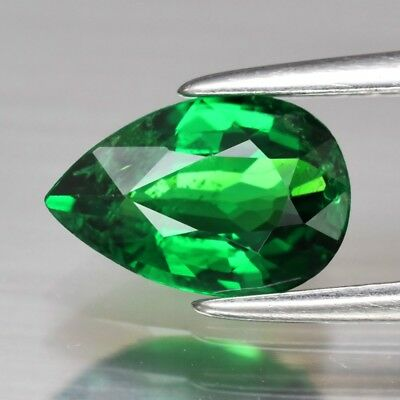 CERTIFICATE Inc.*1.03ct 8.3x5.5mm Pear Natural Green Tsavorite Garnet, Tanzania