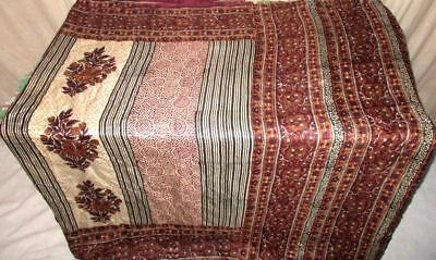 Cream Coffee Pure Silk 4 yard Vintage Sari Birthday Clothes for sale Best #9EHSY