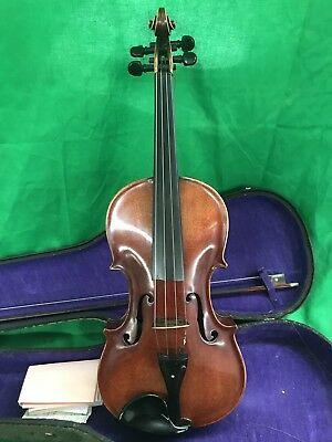 Vintage Herbey M Brown Violin Only 16 Made Black Ebony Inlaid Diamonds