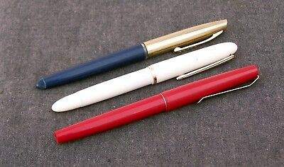 3x Working Old Vintage Antique Fountain Pens Smooth Writers Excellent Condition