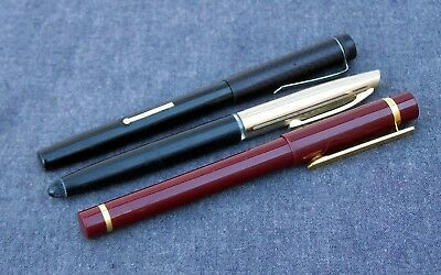 3x Working Old Vintage Antique Fountain Pens Gold Nib Smooth Writers Serviced
