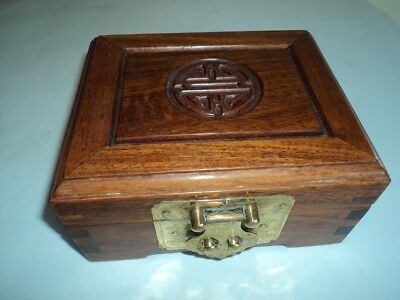 Chinese wooden trinket box with fabric lining and key