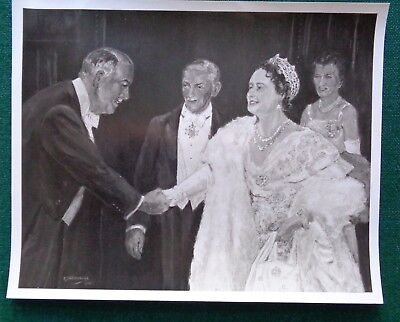 Antique Original Photo Painting Queen Elizabeth the Queen Mother in Jewels & Fur