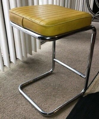 Vintage MCM CHROMCRAFT Yellow Vinyl Chrome Kitchen Bar Stool Chair Mid Century
