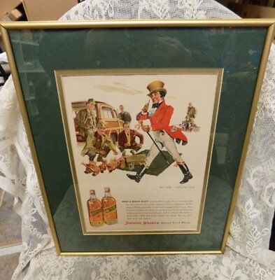 "Vintage Framed Ad~Johnnie Walker Scotch Whisky~12"" X 15"""