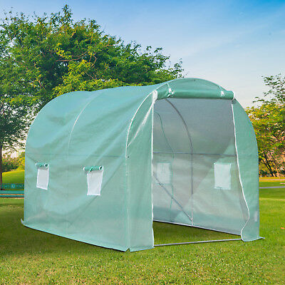 10x6.5x7ft Walk-in Tunnel Greenhouse Portable Planting Shed 2 Anchor Way Green