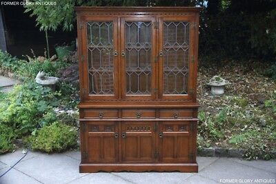 An Old Charm Light Oak Display Cabinet Cupboard Sideboard Dresser Base Bookcase