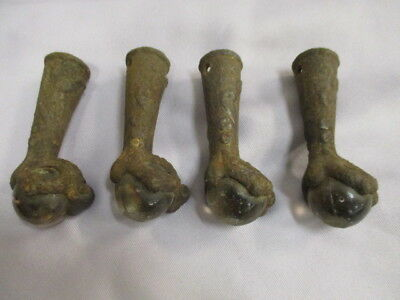 Vintage Antique Cast Iron Eagle Claw Feet with Glass Balls Chair Stool Legs