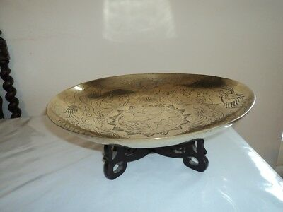 Vintage Brass Chinese hand etched dragon bowl on wooden stand