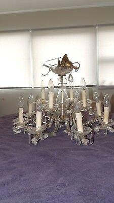 Vintage French glass chandelier with 12 lights electric