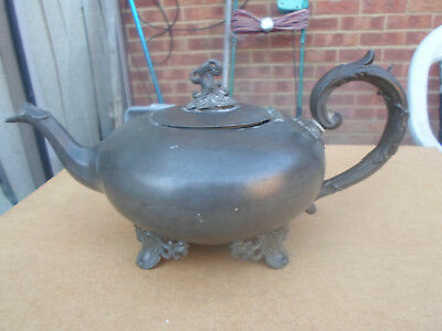 Antique Seamed Metal Teapot marked on base