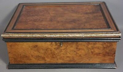19thC Antique VICTORIAN Era BURL WOOD Old DOCUMENT CHEST Dresser CADDY Lock BOX