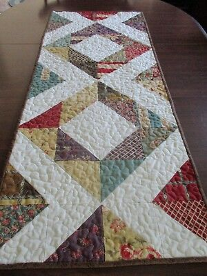 "Hand Made Quilted Table Runner/ Topper / Mat ~16"" x 40"" ~ Multi-Colors"