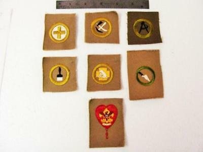 1920's Boy Scout 6 Unused Merit Badges  Mint Aid To Animals Etc Plus One Other