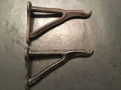 """Pair of 7 1/4"""" Vintage/Antique Heavy Cast Iron Wall Hooks"""