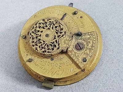 GEORGIAN ANTIQUE FUSEE VERGE POCKET WATCH MOVEMENT by WILLm STEPHENSON LONDON t