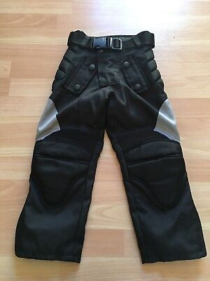 Kids Black Textile Motorcycle Trousers, Size XXXS, Fully Armoured. VGC