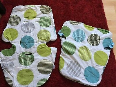 Green & Blue Spotty Seat Liner & Foot Blanket- Handcrafted By Mad About Prams.