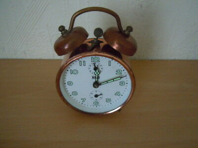 Vintage B H S Copper Coloured Alarm Clock Made In Germany