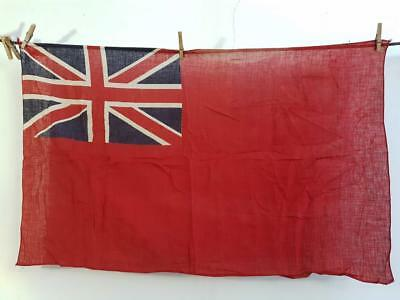 ANTIQUE VINTAGE BRITISH SHIPS COTTON RED ENSIGN FLAG UNION JACK 1900 boat yacht