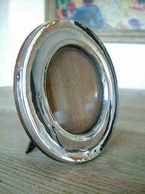 Antique English Hm1913 Solid Silver Round Circular Photo Picture Frame Oak Back