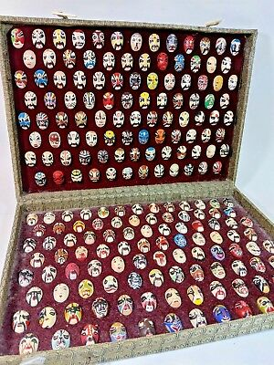 200 Vintage Chinese Beijing Opera Face Masks Silk Box Hand Painted Clay Costumes