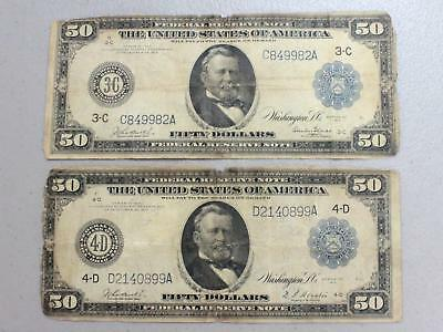 1914 $50.00 Large Size Federal Reserve Notes (Lot Of 2) Good Or Better