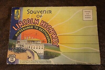 Lincoln Highway Pittsburgh to Gettysburg Pennsylvania Souvenir Fold-Out Postcard