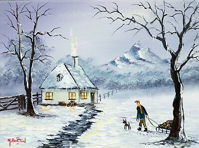 Mal.burton Original Art Oil Painting  Home With The Logs Winter Snow    16X12
