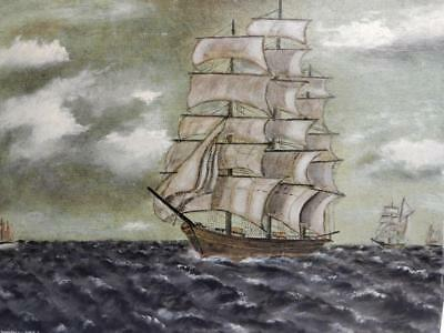 vintage OLD PAINTING oil sail ship signed WHITELEY 1975