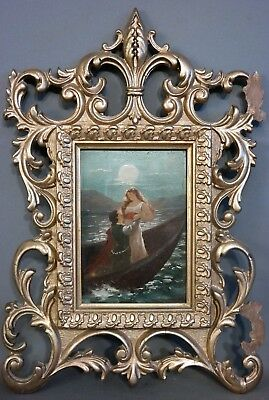 Antique ART NOUVEAU Era MOONLIGHT LOVERS Man & Lady BOAT on LAKE Old PAINTING