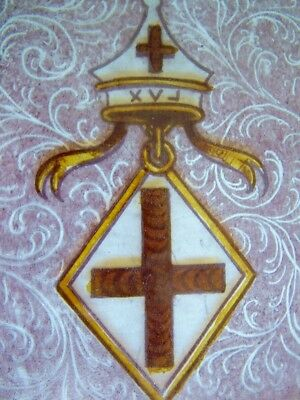 Rare Masonic Symbol Victorian Painted Stained Glass Window Panel Antique Lodge