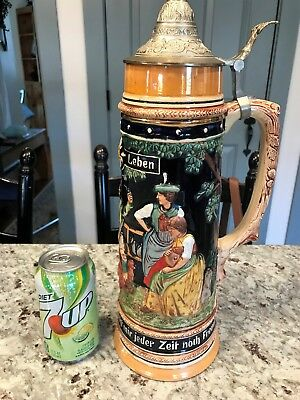 Antique 2 L German Lidded Pottery Beer Stein  # 870