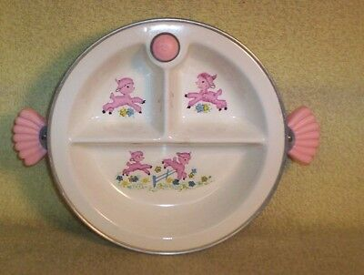 "Vintage ""majestic"" Brand Baby Hot Water Warming 3 Section Plate With Pink Lambs"