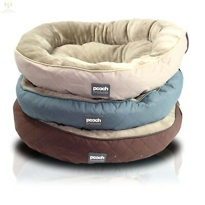Round Country Style Dog Pet Bed Puppy Soft Fleece Diamond Quilted Non Slip Base