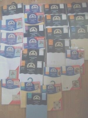 Cross stitch Aida Fabric New  24 Assorted Colours Sizes & Counts Job Lot by DMC